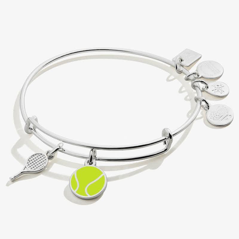 Team USA Tennis Duo Charm Bangle, Shiny Silver, Alex and Ani