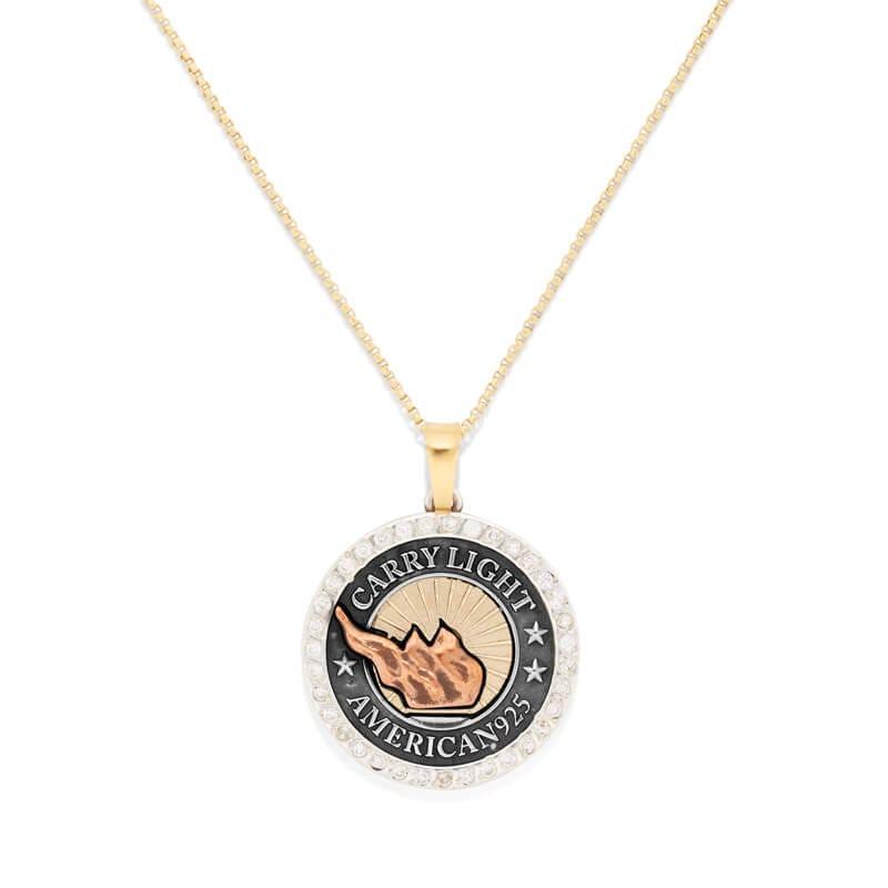 LIBERTY COPPER Pavé Diamond CARRY LIGHT™ 14kt Gold Center Necklace, Medium