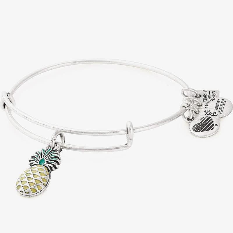 Pineapple Charm Bangle, Color Infusion, Rafaelian Silver, Alex and Ani