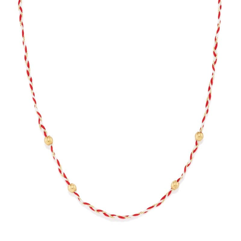Red + White Precious Threads Necklace