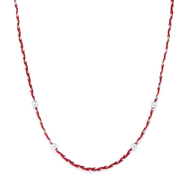 Red + Grey Precious Threads Necklace