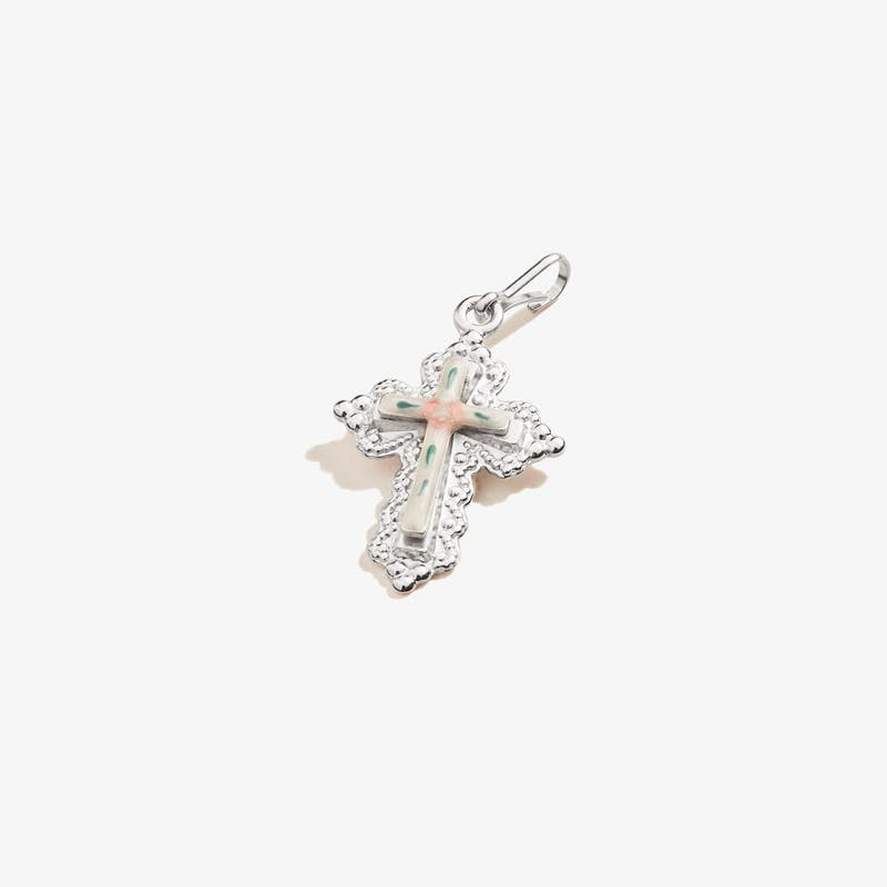 Floral Cross Charm, .925 Sterling Silver, Alex and Ani