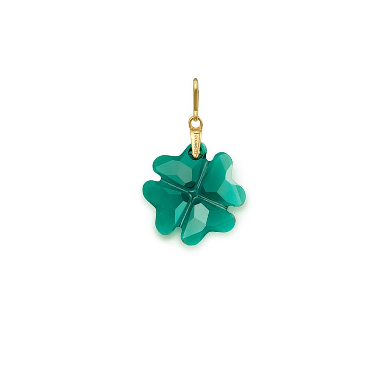 Emerald Four Leaf Clover Charm