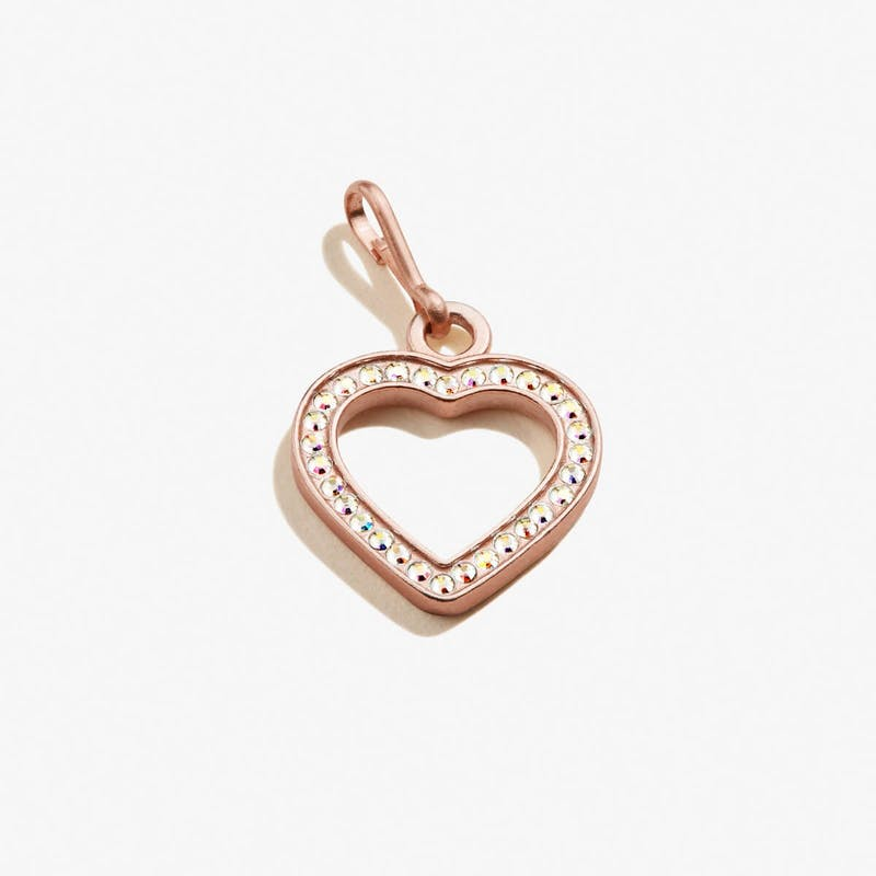 Pavé Heart Charm, 14kt Rose Gold Over .925 Sterling Silver, Alex and Ani
