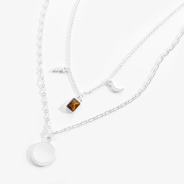 Engravable Wisdom + Potential Multi-Charm Layered Necklace