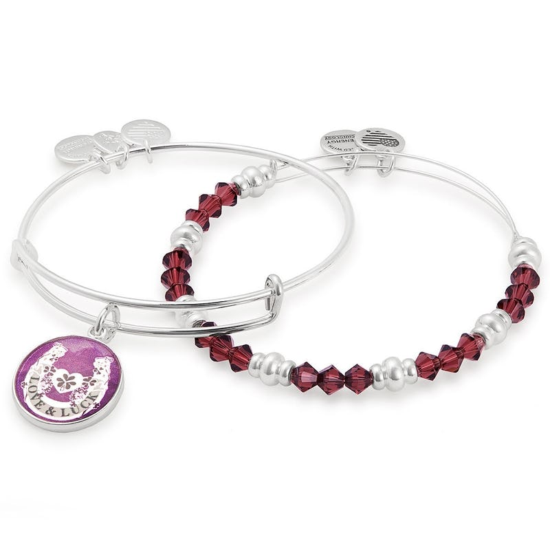 'Luck & Love' Bangle & Beaded Bracelet, Set of 2