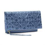Gabriel Leather Fold Over Clutch, Tidal Blue
