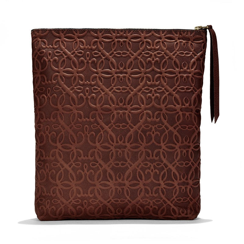 Gabriel Leather Fold Over Clutch, Brown