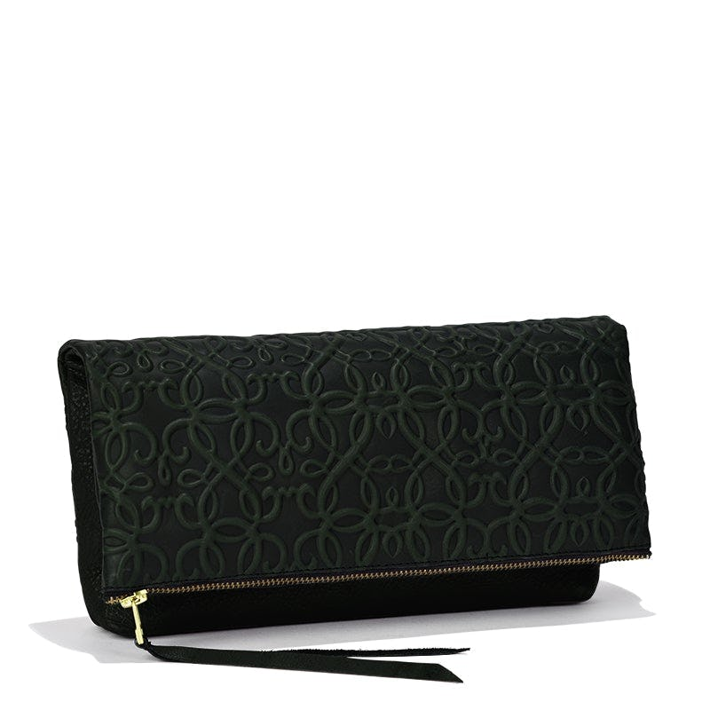 Gabriel Leather Fold Over Clutch, Forest Green