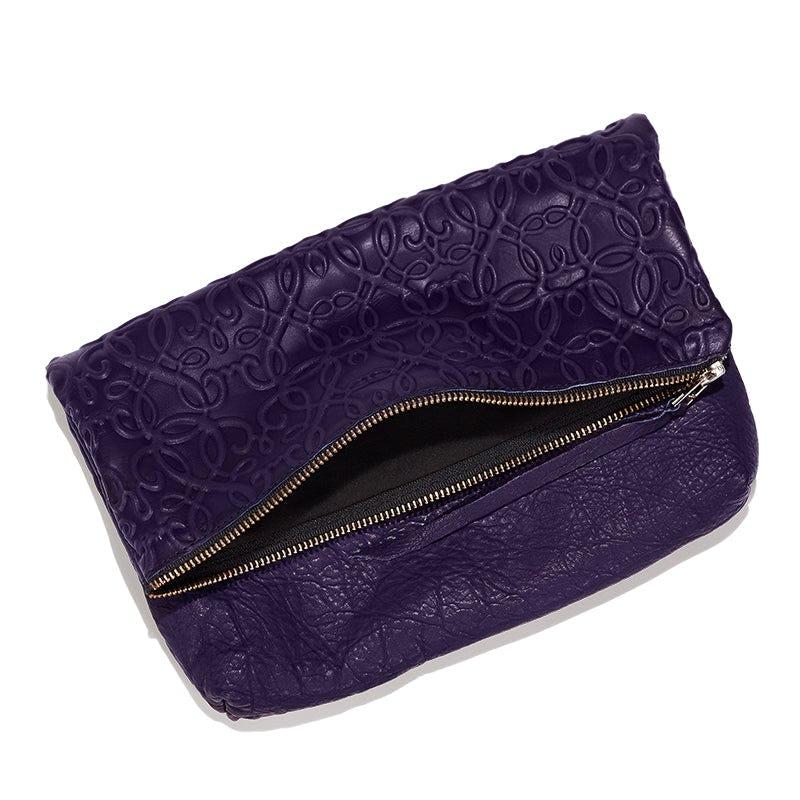 Gabriel Leather Fold Over Clutch, Purple