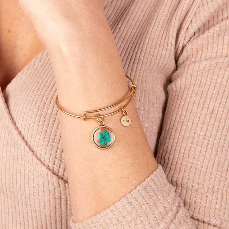 Four Leaf Clover + 'Luck' Mantra Duo Charm Bangle