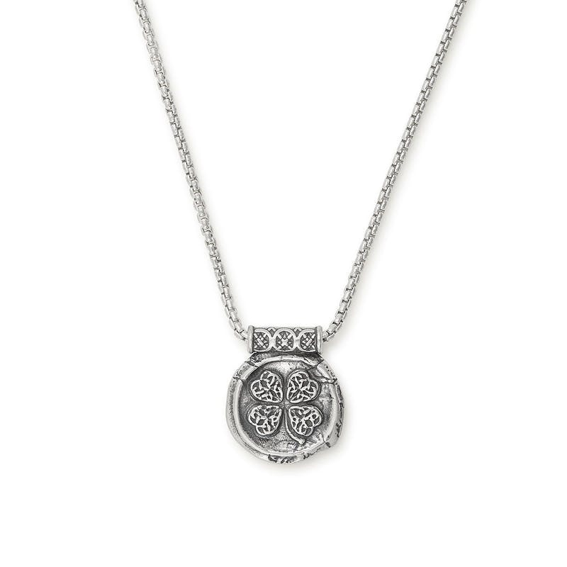 Men's Four Leaf Clover Necklace, .925 Sterling Silver, Alex and Ani