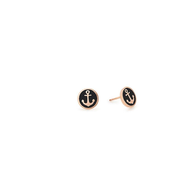 Anchor Stud Earrings, Black
