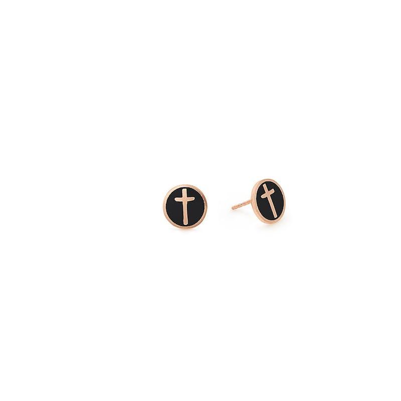 Cross Stud Earrings, Black