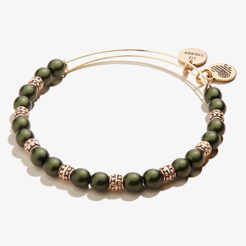 Pearl Beaded Bangle, Emerald Green