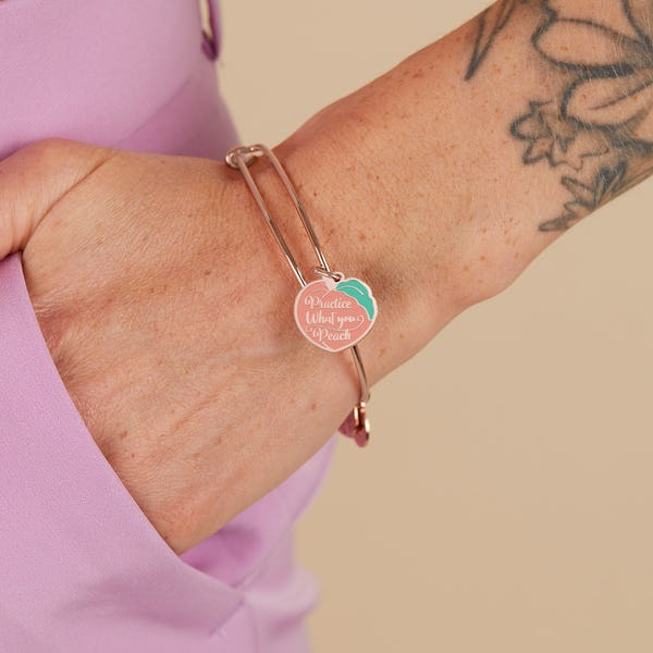 'Practice What You Peach' Charm Bangle