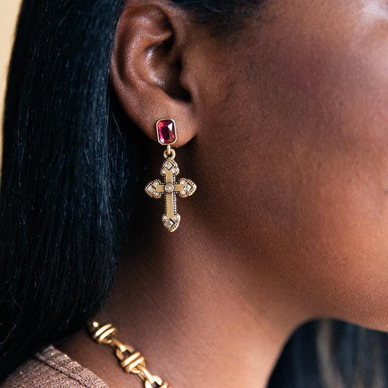 Cross Statement Earrings