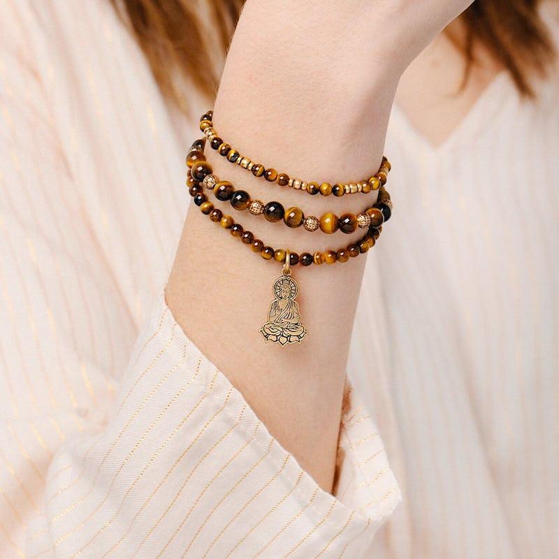 Buddha Beaded Stretch Bracelets, Set of 3
