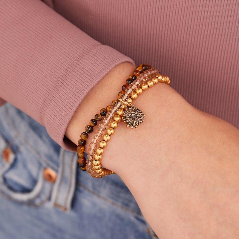 Token of Friendship Sunflower Beaded Stretch Bracelet