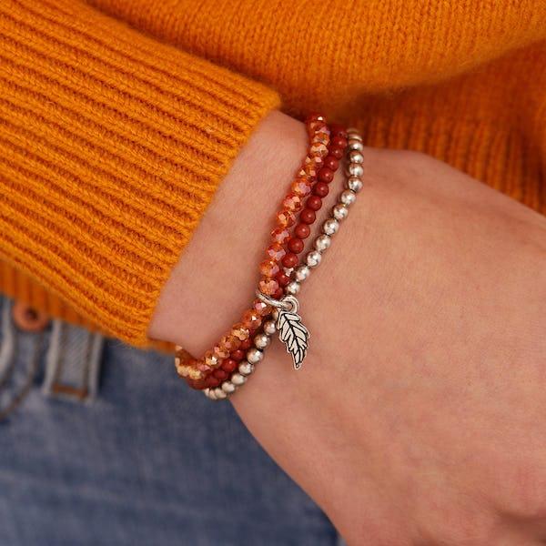 Token of Life Oak Leaf Beaded Stretch Bracelet