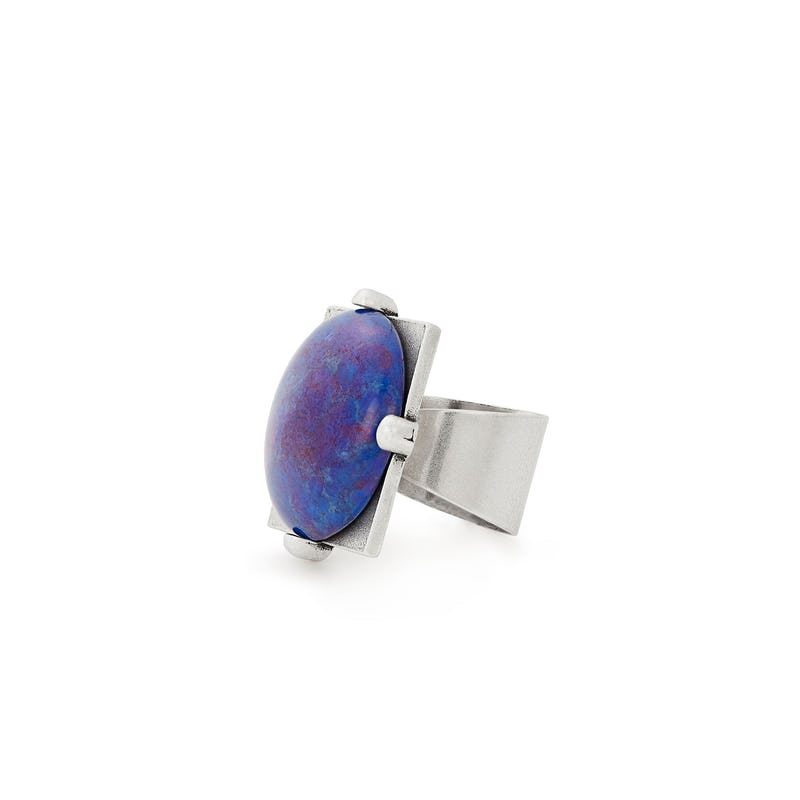 Cobalt Matrix Cocktail Ring