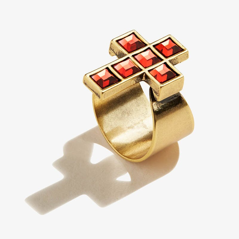 Crystal Cross Cocktail Ring