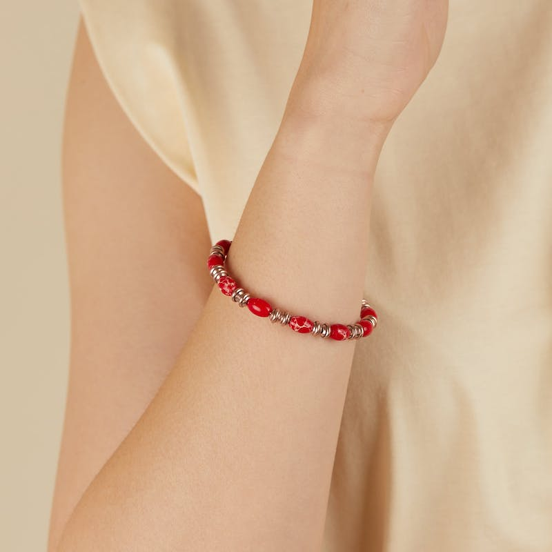 Watercolor Beaded Bangle, Red